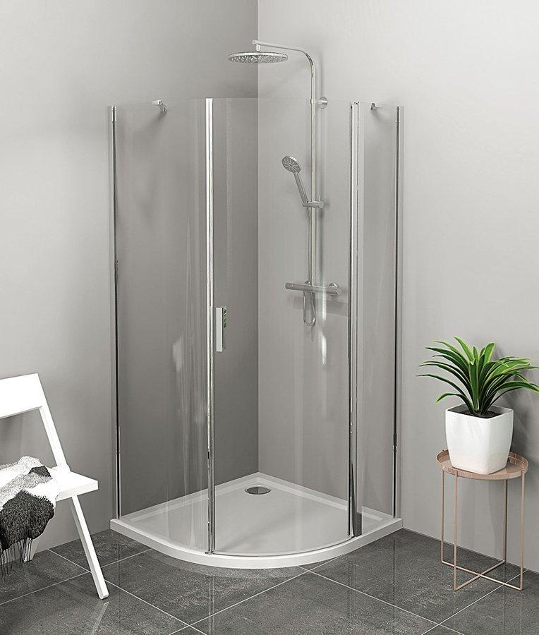 ZOOM LINE 90x90cm,štvrťkruhová sprchová zástena, číre sklo, pravá