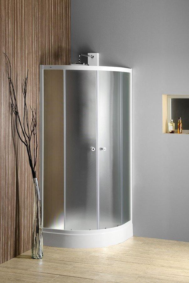 ARLEN štvrťkruhová sprchová zástena 900x900mm, sklo BRICK